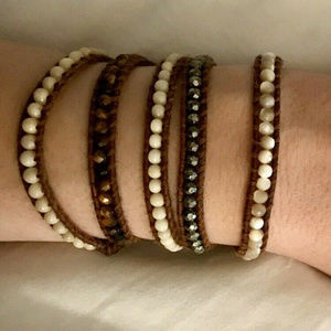 CHAN LUU Brown Leather Ivory Gray Silver Beads